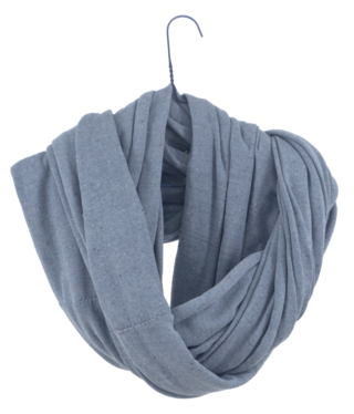 loop-scarf, shown cosily wraped